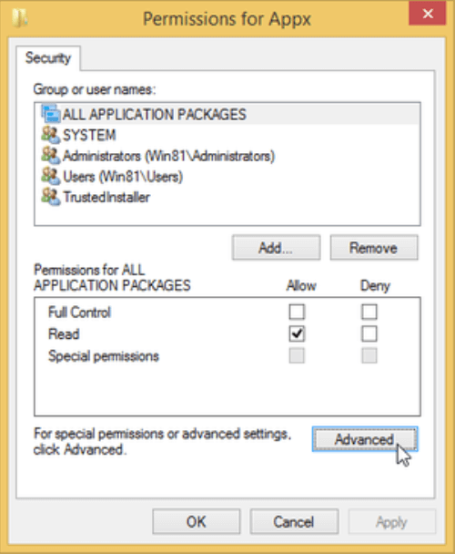 Permissions dialog box for appx