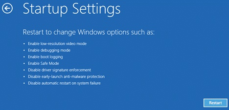 Restart to change windows option