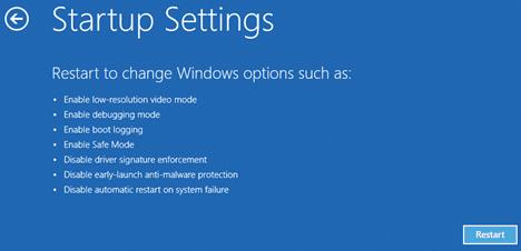 Restart to change windows option