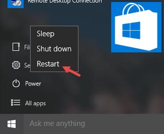 Shutdown or Restart Windows 10 from the Start Menu