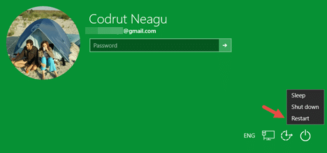 Note that you can also use the Shift key + Restart combine at the login screen.