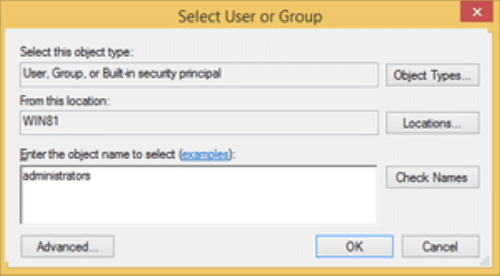 select user or group
